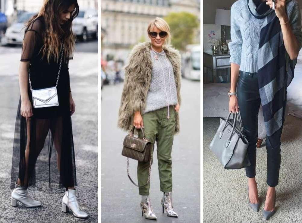 Женская серая обувь и ее сочетание с одеждой.