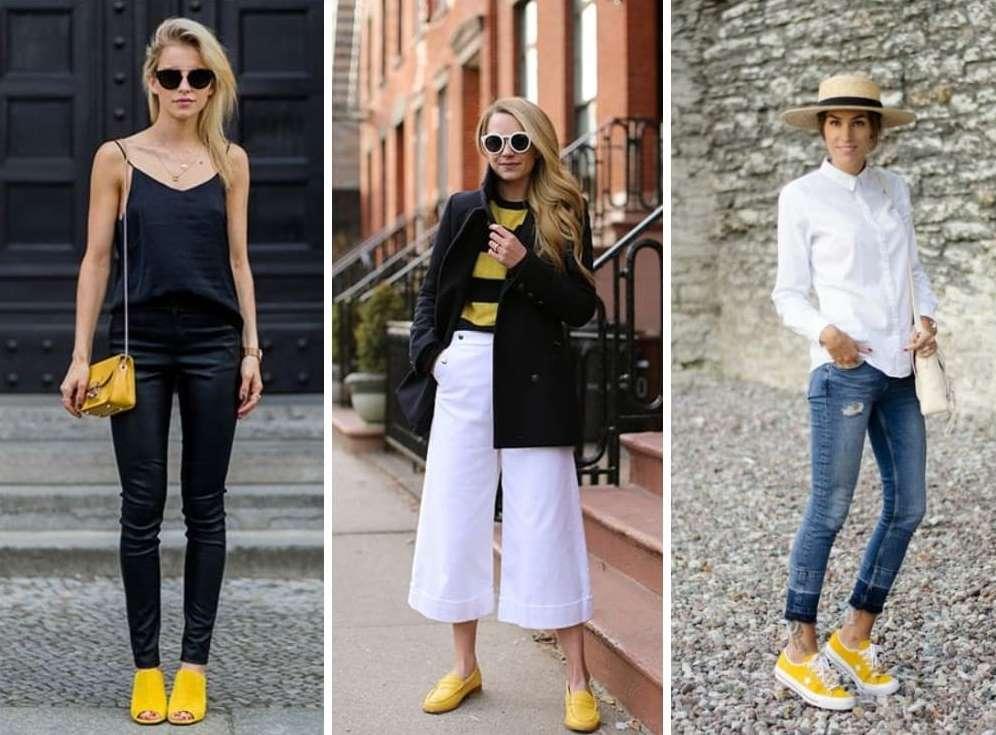 Сочетание желтых женских босоножек и туфель с одеждой.