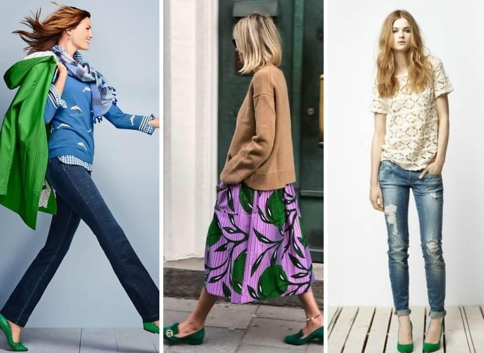 Сочетание зеленой обуви с женской одеждой.