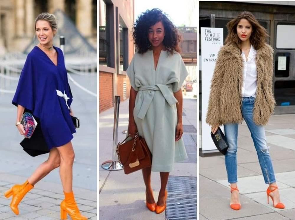 Сочетание цветов одежды с оранжевой обувью.