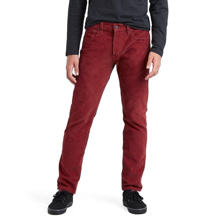 Красные вельветовые мужские брюки.