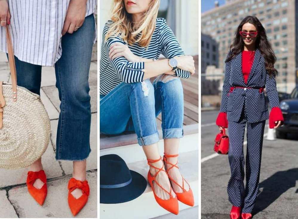 Сочетание красной обуви с одеждой.